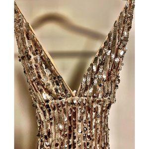 Gold sequin cocktail dress